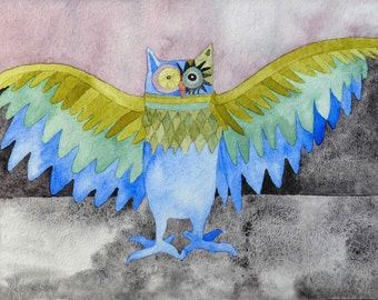 """Proud Owl,  a one-of-a-kind original watercolor painting 15.75"""" x 11.75"""""""