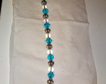 """9 1/2"""" Glass and metal bead bracelet (extra long)"""