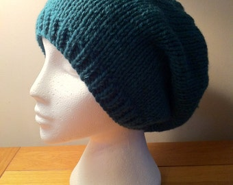 Knitting Pattern pdf -Slouchy Beanie Knitting Pattern - in Chunky Wool, Instant Download