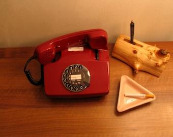 German Rotary Telephone 1988 Vintage 80s Red Deutsche Post FeTAp 791-1 Phone 90s German Phone