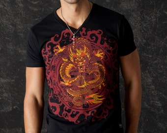 Chinese Dragon Men T-shirt Black Top Oriental Ornaments Glam Rock Clothing