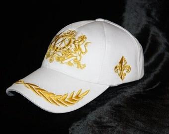 Monogram Baseball Cap Men White Hat Golf Urban Wear Glam Rock Clothing