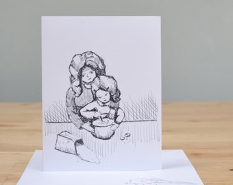 Handmade card, Christmas card, original pen and ink illustration, art card, paper goods, COOKING WITH MOM