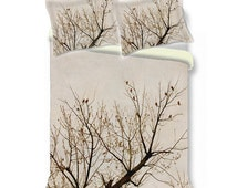 Tree duvet cover branches red bird s nature beige brown duvet cover
