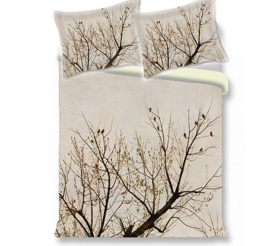 Tree Duvet Cover Branches Red Birds Nature Beige Brown
