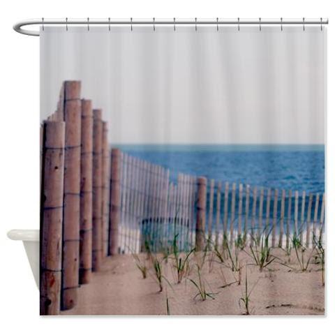 Beach shower curtain ocean shower curtain beach fence brown - Decor plage ...