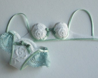 set lingerie,  fabric, lace and silk ,handmade in Italy, 1/12 scale