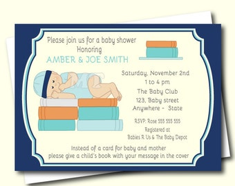 Book Baby Shower Invitation- Bring a Book Baby Shower Invite- Boy Baby Shower- Blue Printable Baby Shower Invitation- Book theme Invitations