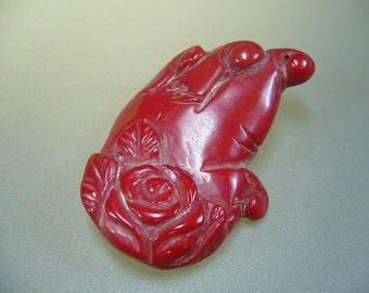 Red Coral Carved Flower Pendant Bead 50mm