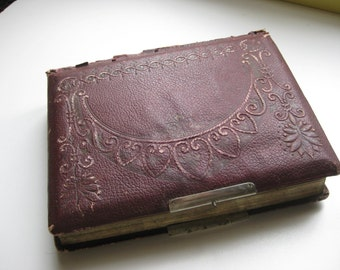 Antique French Photo Album Old Tooled Leather Filled Early 20e Century.