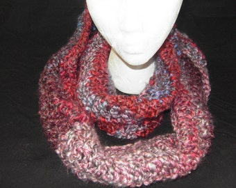 Burgundy and mullti color Infinity Scarf