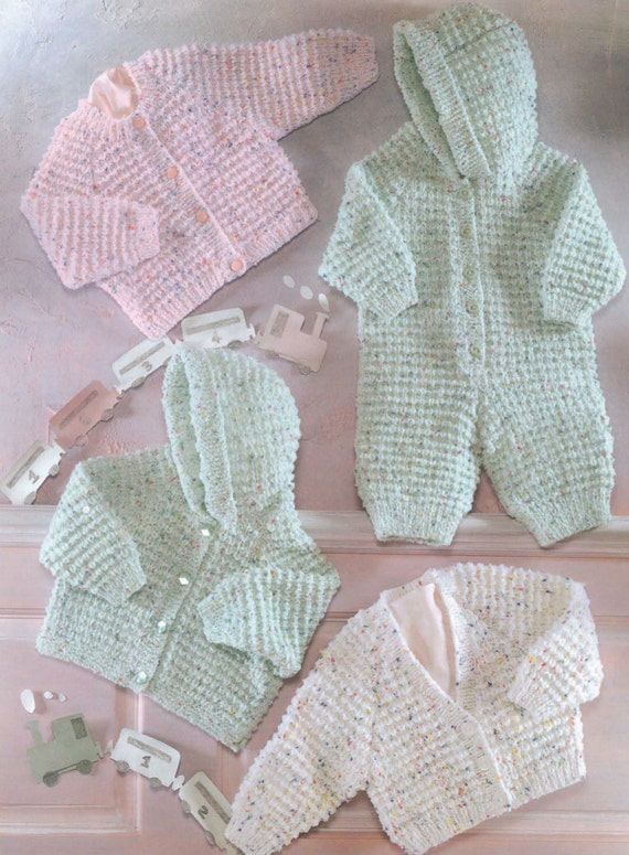 Knitting Pattern Hooded Jacket : Knit Baby Hooded Jacket Cardigan and Onesie Vintage Knitting