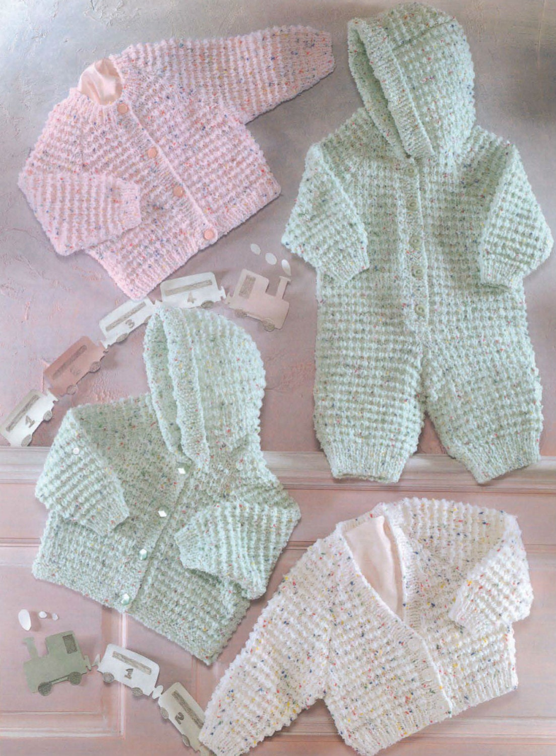 Knit Baby Hooded Jacket Cardigan and Onesie Vintage Knitting