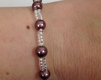 Purple cocoa sparkly glass seed bead and glass pearl bracelet