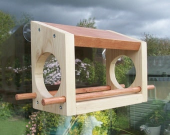 Bird Feeder Made from Wood for Window . Loose Feed
