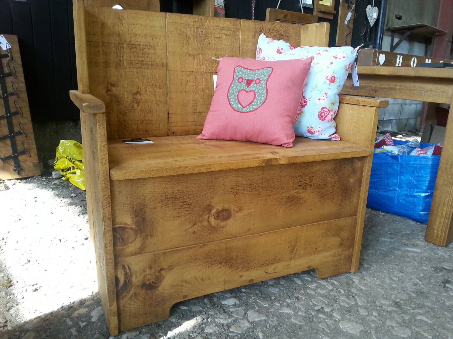 Solid Wood Settle Bench Church Pew Style By