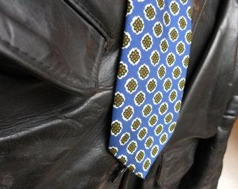Men's Vintage Paul Smith Tie - Blue with flower pattern