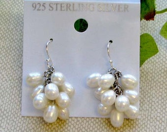 White AAA quality cluster fresh water pearl drop earring on sterling silver earromg wire