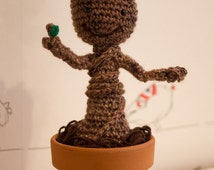 Baby Groot from Guardians of the Galaxy Crochet Amigurumi Figure Plush Doll in Plant Pot