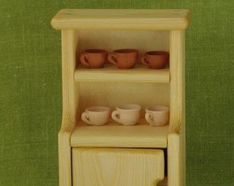Wooden dollhouse furniture, Waldorf wooden commode, commode for dishes, Waldorf wooden toy, doll kitchen furniture, Waldorf commode