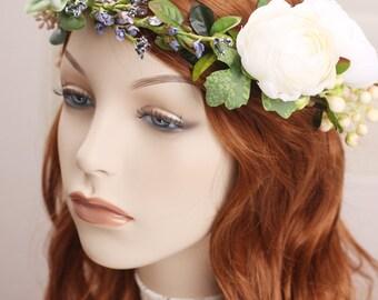 bridal flower crown, flower headpiece, wedding hairpiece, flower crown, bridal headband, flower hairpiece,  flower headband