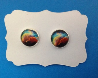 Brown and Blue Swirl Sky in a Bright Silver Setting FREE U.S. SHIPPING