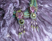 MADE TO ORDER beaded earrings chandelier bright long lavender  magenta purple green  summer