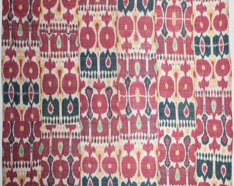 80.7 x 82.2 inches Antique Uzbek silk and cotton IKAT HANGING ships free with ups.