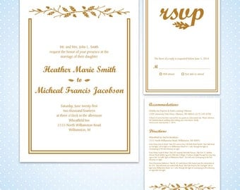 Printable Wedding Invitation - Acorn Wedding Suite - Your Choice Of Colors
