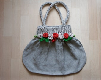Handbag made of linen fabric - there is no postage charged