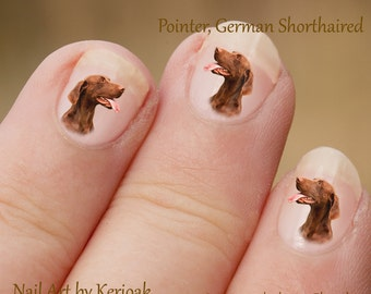 Pointer Nail Art,  Dog Nail Art Stickers, German Shorthaired Pointer Nail Stickers, Fingernail Stickers, liver, brown, portrait, decals