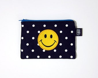 Navy Polka Dot Coin Purse, Credit Card Purse, Small Zip Pouch, Card Pouch with Embroidered Smiley Face Patch