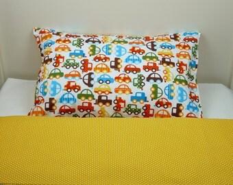Bedding set - cars & tiny polka dot + FREE PILLOW and DUVET