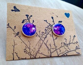 Blue/Purple Watercolor 12mm post earrings