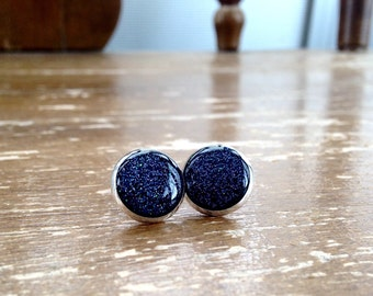 Black Deep Sparkle post earrings