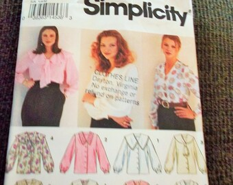 Vintage 1993 Simplicity 8620 Sewing Pattern Misses' Blouse, Size Y 18 - 22