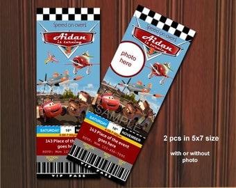 Disney Cars and Planes Invitation. Cars and Planes Invitation. McQueen, Matey, Rusty, El chupacabra, Ticket Style. Digital (you print)