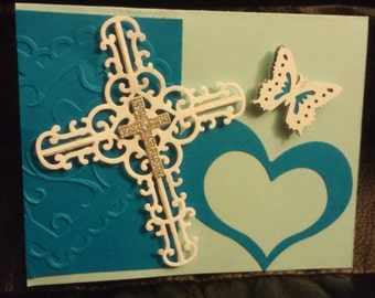 Blue Heart, white and silver cross and butterfly