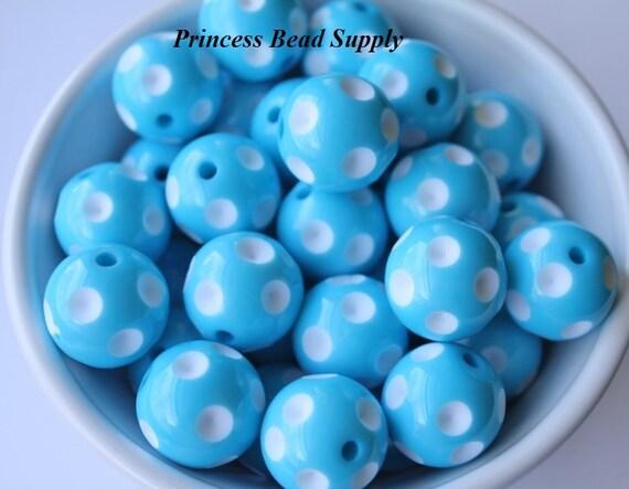 20mm Turquoise Blue Polka Dot Chunky Beads Set Of 10
