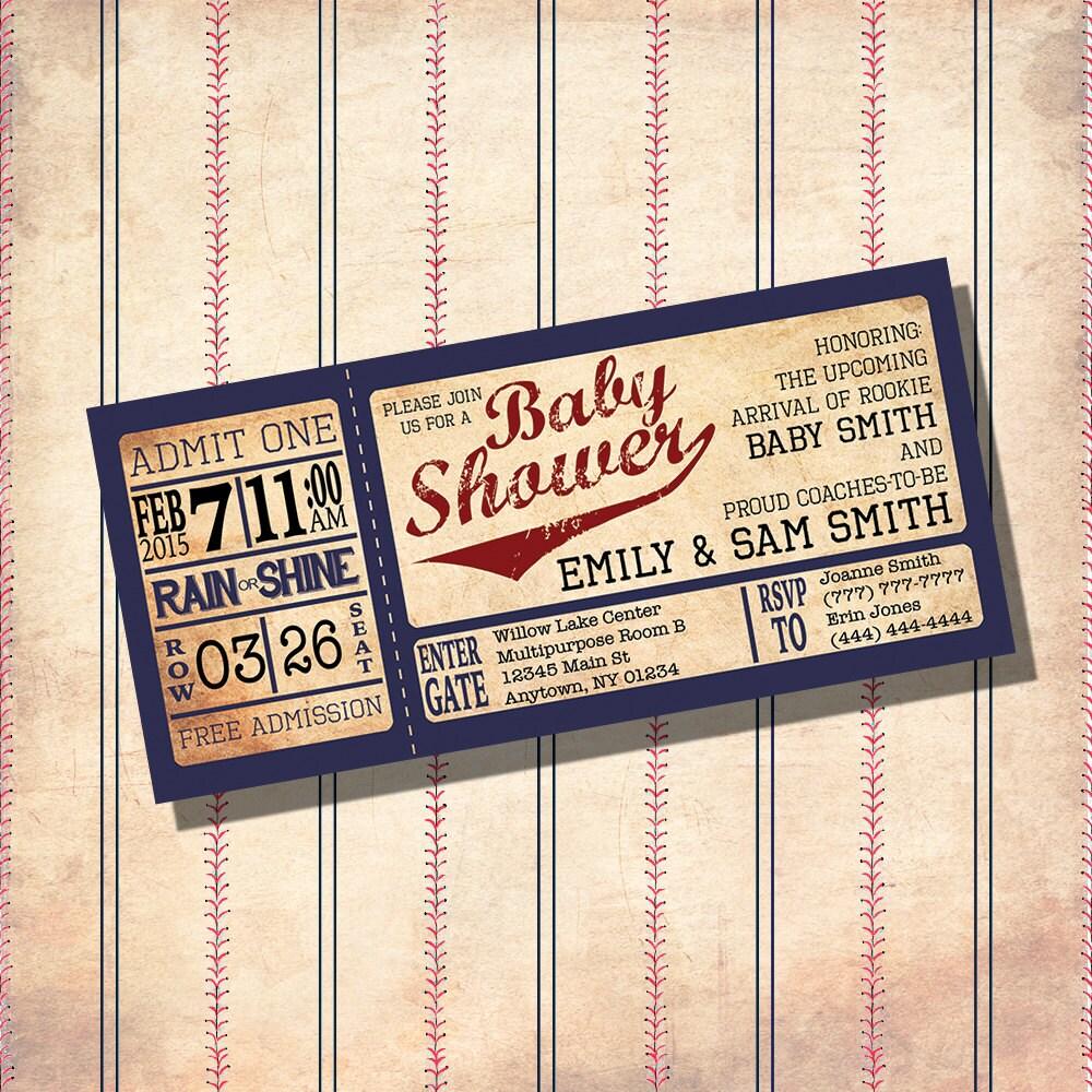 Vintage Baseball Birthday Invitations: Vintage Baseball Theme Baby Shower Invitations CUSTOM