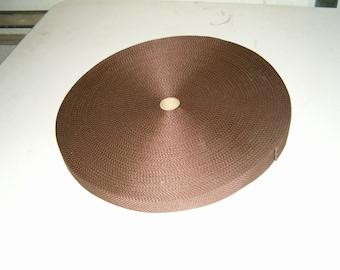 "Lightweight poly webbing 1"" width by the yard dark brown"