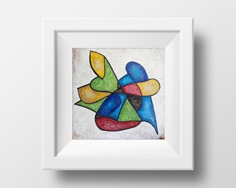 Abstract Painting, Arcylic Painting, Fine Art Print , Giclee Print , Wall Art , Wall Décor, Colorful Shape Print