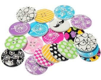 50 Wooden Buttons Flat Round Mixed Sewing Scrapbooking decoration 4Hole