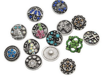 6PCS Snaps Ginger Buttons With Rhinestone 18mm Mixed Colors Interchangeable Snap Jewelry