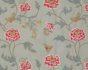 COLEFAX & FOWLER ORIENTAL Poppy Embroidered Floral Silk Stripes Fabric 10 Yards Silver Rose Blue