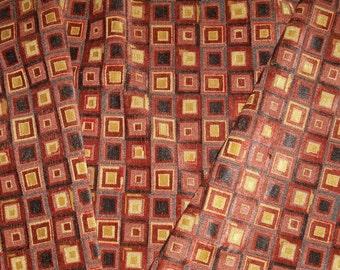 COWTAN & TOUT KALEIDOSCOPE Geometric Linen Cut Velvet Fabric 6 Yards Cinnabar Slate Gold