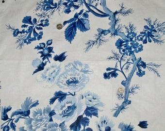 SCHUMACHER Hollyhock Floral Cotton Chintz Toile Fabric 10 yards Blue White
