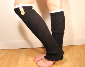Black Long Leg Warmers - Leg warmers with Lace and Buttons  - Ladies Knit Boot Socks - Overknee Socks leg warmers black - ladies clothing