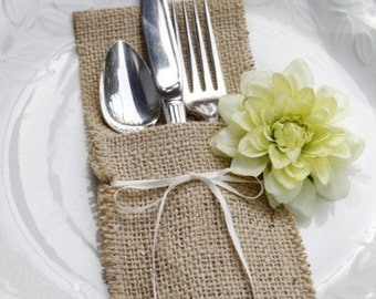 Set of 100 Burlap Silverware Pockets with ribbon  - Burlap Silverware