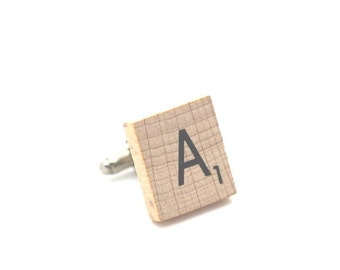 Wooden Scrabble Letter Cufflinks. ( Sold individually ) . Letter A . SKU005497
